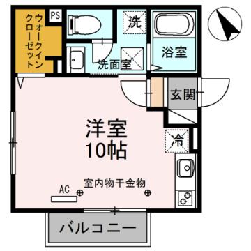 物件番号: 1110306674 クラリス  富山市五福 1R アパート 間取り図