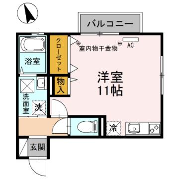 物件番号: 1110306676 クラリス  富山市五福 1R アパート 間取り図