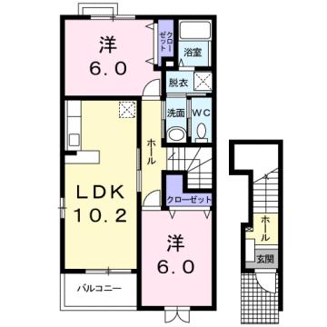 物件番号: 1110306709 ゼファーⅠ  富山市上大久保 2LDK アパート 間取り図