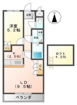 物件番号: 1110306752 アイディールK  富山市黒崎 1LDK アパート 間取り図