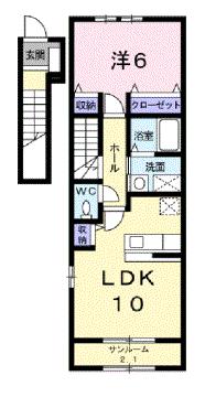 物件番号: 1110306833 クロッシング  富山市手屋3丁目 1LDK アパート 間取り図