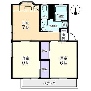 物件番号: 1110306851 オレンジクリエイト  富山市中田2丁目 2DK アパート 間取り図