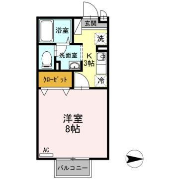 物件番号: 1110306990 ラフィネ中島  富山市中島5丁目 1K アパート 間取り図