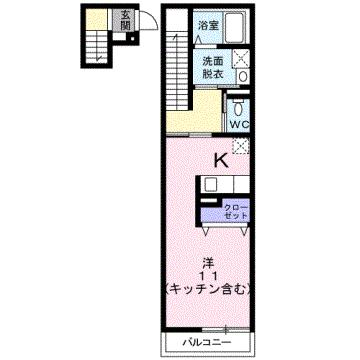 物件番号: 1110306999 ウエストモンターニュA  富山市太郎丸西町 1K アパート 間取り図