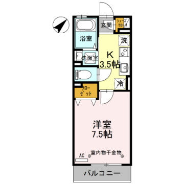 物件番号: 1110307021 14Karat  富山市五福 1K アパート 間取り図