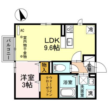 物件番号: 1110307034 D-roomひよどり  富山市鵯島 1LDK アパート 間取り図