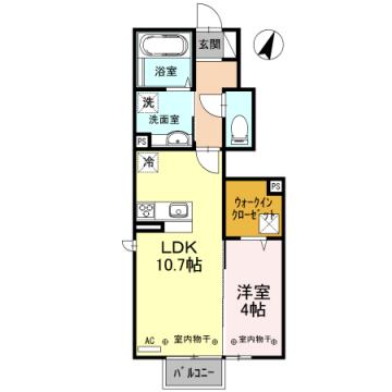 物件番号: 1110307049 Mi casa tu casa  富山市中川原 1LDK アパート 間取り図
