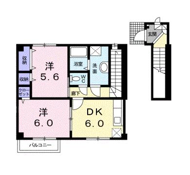 物件番号: 1110307176 グリシナハウス  富山市山室荒屋新町 2DK アパート 間取り図