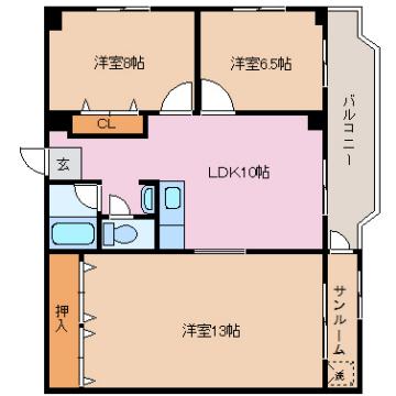 物件番号: 1110307321 レラカムイ  富山市布瀬町南2丁目 3LDK マンション 間取り図
