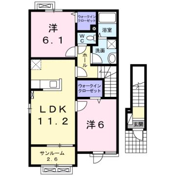 物件番号: 1110307417 サニースクエア  富山市向新庄町5丁目 2LDK アパート 間取り図