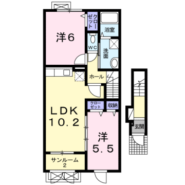 物件番号: 1110307474 ぽこあぽこA  富山市水橋中村 2LDK アパート 間取り図