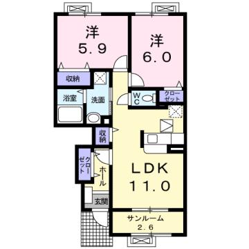 物件番号: 1110307484 インフィニティーC  富山市岩瀬白山町 2LDK アパート 間取り図