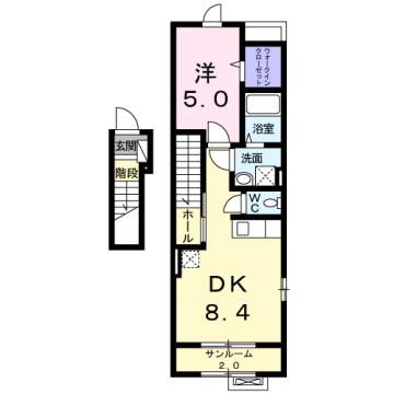 物件番号: 1110307529 コンフォーティア  富山市常盤台 1DK アパート 間取り図