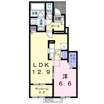 物件番号: 1110307559 プルミエール手屋Ⅱ  富山市手屋3丁目  1LDK アパート 間取り図