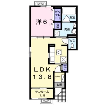 物件番号: 1110307565 プルミエール手屋Ⅲ  富山市手屋3丁目  1LDK アパート 間取り図