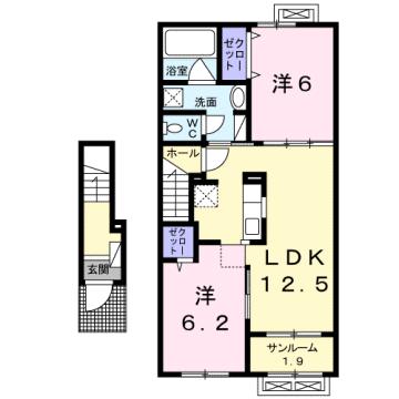 物件番号: 1110307572 プルミエール手屋Ⅲ  富山市手屋3丁目  2LDK アパート 間取り図