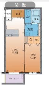 物件番号: 1110307604 ハートフルタウンクオーレ  富山市山室 1LDK マンション 間取り図