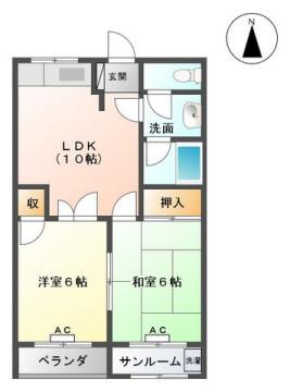 物件番号: 1110307738 ラ・シャンポール  富山市新根塚町2丁目 2LDK マンション 間取り図