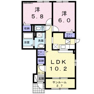 物件番号: 1110307765 グランMIKI常盤台  富山市常盤台 2LDK アパート 間取り図