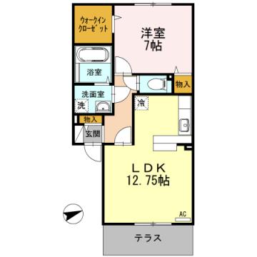 物件番号: 1110307788 テラスハウス上竹 A  富山市東富山寿町1丁目 1LDK アパート 間取り図
