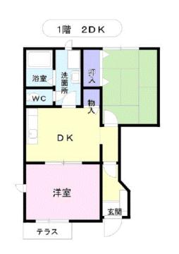 物件番号: 1110307823 セトル二杉ⅡA棟  富山市上二杉 2DK アパート 間取り図