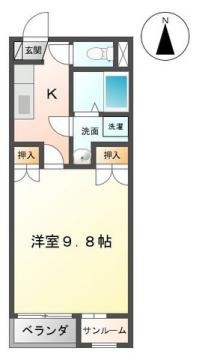 物件番号: 1110307847 ドゥウェル婦中  富山市婦中町分田 1K アパート 間取り図