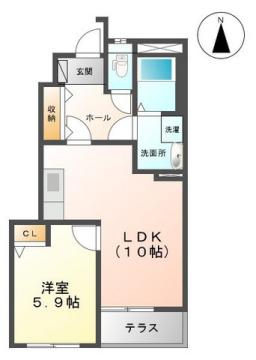 物件番号: 1110307944 メイプルハウス藤ノ木  富山市大島2丁目 1LDK アパート 間取り図
