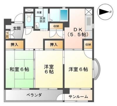 物件番号: 1110307949 パークサイド宝  富山市宝町2丁目 3DK マンション 間取り図