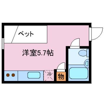 物件番号: 1110307966  富山市一番町 1R マンション 間取り図
