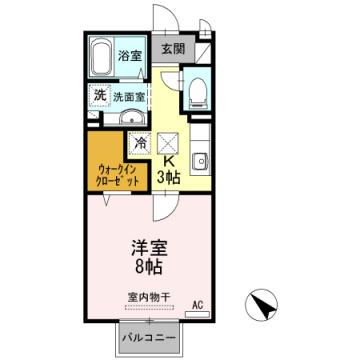 物件番号: 1110307971 ジュネス下新  富山市下新町 1K アパート 間取り図
