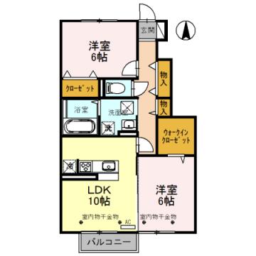 物件番号: 1110307977 ボナールみなみ  富山市向新庄町2丁目 2LDK アパート 間取り図