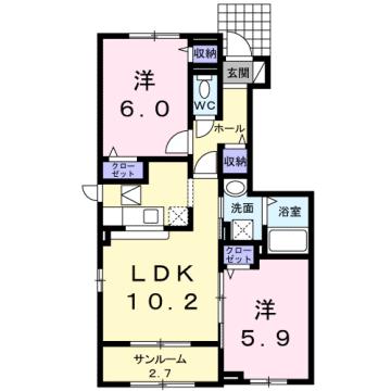 物件番号: 1110308013 ココ ウエスト  富山市新庄町4丁目 2LDK アパート 間取り図