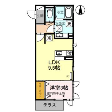 物件番号: 1110308048 ウイステリア  富山市黒崎 1LDK アパート 間取り図