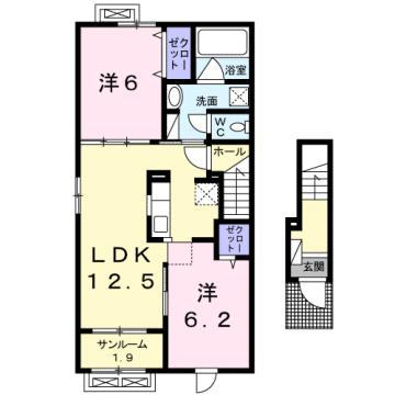 物件番号: 1110308151 シャンティⅡA  富山市新庄北町 2LDK アパート 間取り図