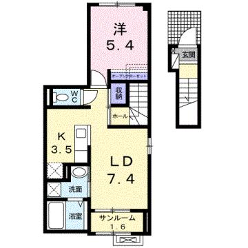 物件番号: 1110308159 シャンティⅡB  富山市新庄北町 1LDK アパート 間取り図
