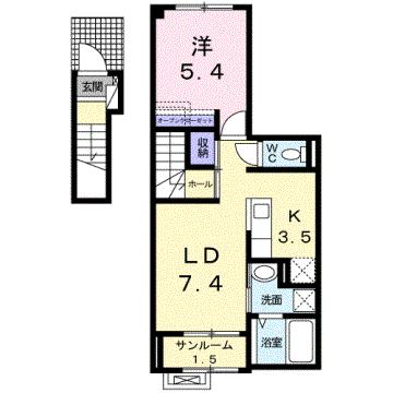 物件番号: 1110308162 シャンティⅡB  富山市新庄北町 1LDK アパート 間取り図