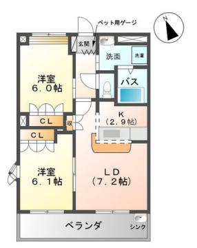物件番号: 1110308196 ポラリス北極星  富山市才覚寺 2LDK アパート 間取り図