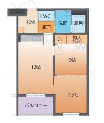 物件番号: 1110308199 ハートフルマンションTres  富山市上大久保 2LDK マンション 間取り図