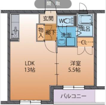 物件番号: 1110308201 ハートフルタウンAi  富山市太田 1LDK マンション 間取り図