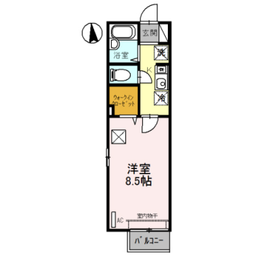 物件番号: 1110308297 セジュール清風Ⅱ  富山市粟島町3丁目 1K アパート 間取り図