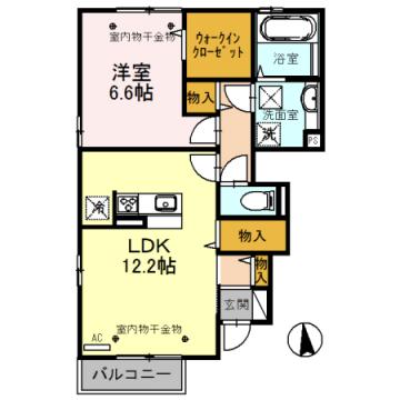 物件番号: 1110308310 ルミエールオッツ A棟  富山市赤田 1LDK アパート 間取り図