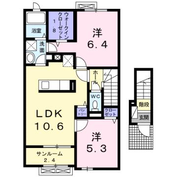 物件番号: 1110308330 エクラデ ジュールⅡ  富山市中冨居 2LDK アパート 間取り図