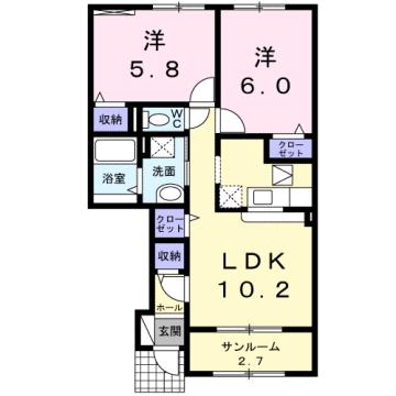物件番号: 1110308375 ドゥ・ファミーユB  富山市常盤台 2LDK アパート 間取り図