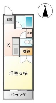 物件番号: 1110308431 エルサエキ  富山市犬島5丁目 1K アパート 間取り図