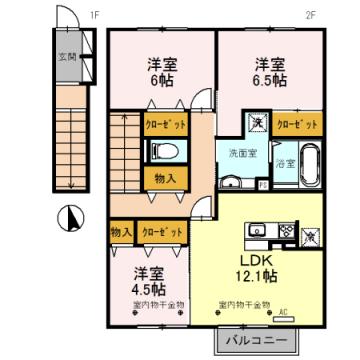 物件番号: 1110308452 グリーン・トロントB棟  富山市西田地方町3丁目 3LDK アパート 間取り図