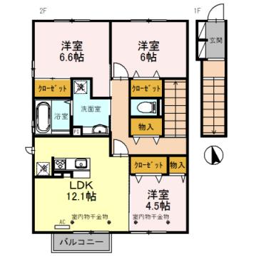 物件番号: 1110308453 グリーン・トロントB棟  富山市西田地方町3丁目 3LDK アパート 間取り図