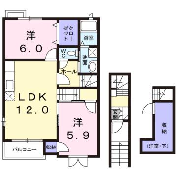 物件番号: 1110308467 エヴァー・エイム  富山市上赤江町 2LDK アパート 間取り図
