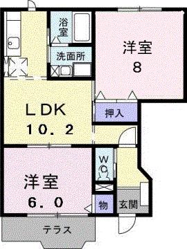 物件番号: 1110308474 シェルブランシェ  富山市小杉 2LDK アパート 間取り図