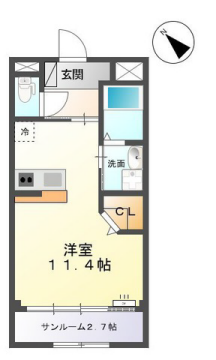 物件番号: 1110308491 シュメール  富山市婦中町上田島 1R アパート 間取り図