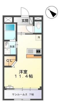 物件番号: 1110308492 シュメール  富山市婦中町上田島 1R アパート 間取り図